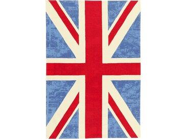 Handgefertigter Teppich aus Baumwolle in Blau/Rot