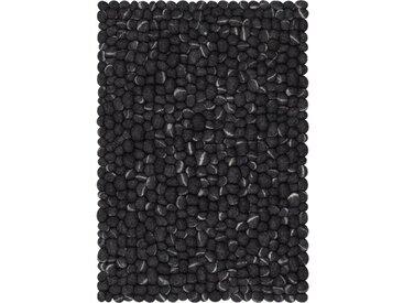 Handgefertigter Teppich Ernie aus Schaffell in Anthrazit