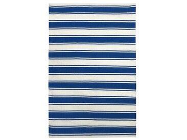Handgewebter Baumwollteppich Ravenswood Blau/Weiß