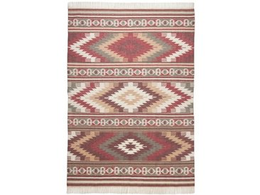 Handgefertigter Teppich Kelim Colors aus Wolle in Rot