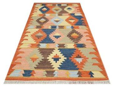 Handgefertigter Kelim-Teppich aus Wolle in Orange/Braun