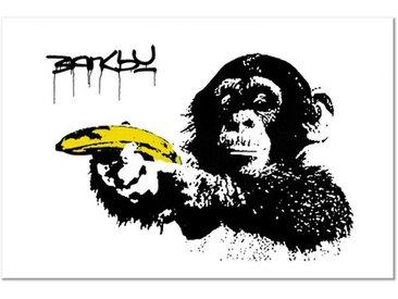 Leinwandbild Affe mit Banane von Banksy