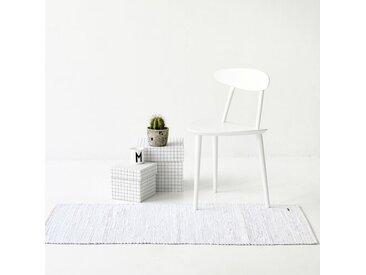 Handgefertigter Teppich aus Baumwolle in Weiß