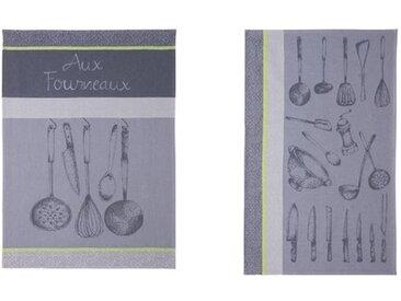2-tlg. Geschirrtücher-Set Fourneaux Ustensiles Du Chef