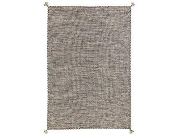 Handgefertigter Kelim-Teppich Ela aus Baumwolle in Elfenbeinfarben