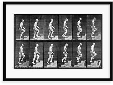 Grafikdruck Mann geht die Treppe hoch