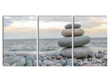 3-tlg. Leinwandbilder-Set Steinturm am Strand