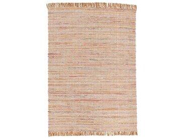 Handgefertigter Kelim-Teppich Lexie aus Baumwolle in Braun