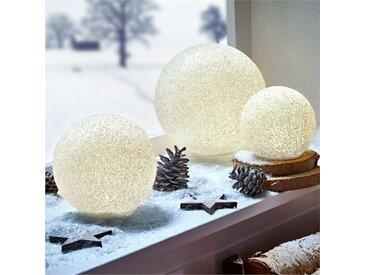 3-tlg. LED-Leuchtkugel-Set Eiskristall