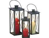 Laternen, 3er-Set - schwarz - Glas , Metall - 42 cm - 37 cm