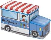 Sitzbank mit Stauraum  Eisauto - blau - Box Außen: 100% Polyester, Füllung: Karton, Innen: Stoff 100% Polyester, Deckel: Karton gepolstert und bezogen (Bezug: 100% Polyester, Polsterung: 100% Polyurethan) - 55 cm - 31,5 cm - 26,5 cm