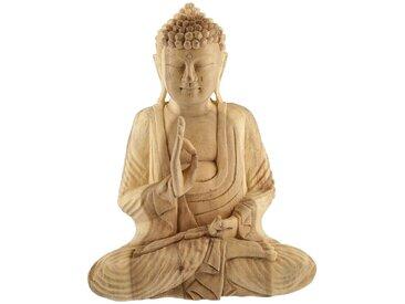 Deko Buddha - holzfarben - Holz - 15,5 cm - 32 cm - 28 cm - Sconto