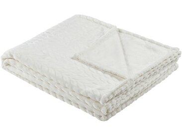 HOME STORY Fleecedecke  Zopf - weiß - 100% Polyester - 150 cm - Sconto