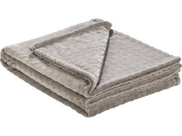 HOME STORY Fleecedecke  Zopf - beige - 100% Polyester - 150 cm - Sconto