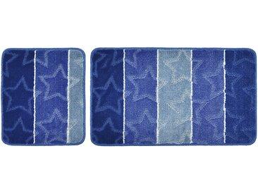 Badgarnitur, 2-teilig für Hänge-WC (ohne Ausschnitt) Star - blau - 100% Polypropylen - 50 cm - Sconto