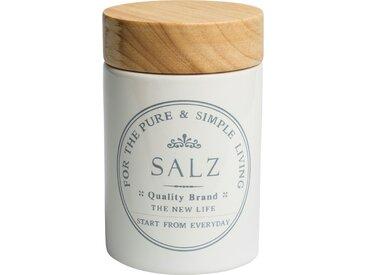 KHG Aufbewahrungsdose  Salz - weiß - Steinzeug/Steingut, Holz - Sconto