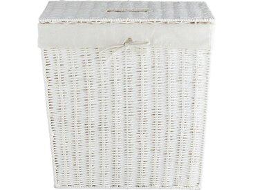 Wäschekorb mit Deckel - weiß - Papier, Eisendraht, Polyester, Baumwolle - 45 cm - 45,5 cm - 30 cm - Sconto