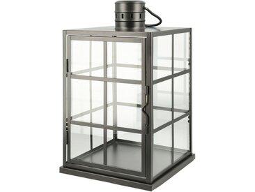 Laterne - schwarz - Metall, Glas - Sconto