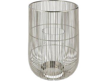 Windlicht - silber - Stahl, Glas - Sconto