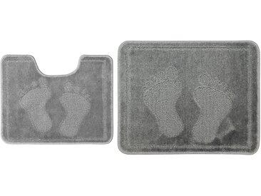 Badgarnitur, 2-teilig für Stand-WC (mit Ausschnitt) Footprint - grau - 100% Polypropylen - 50 cm - Sconto