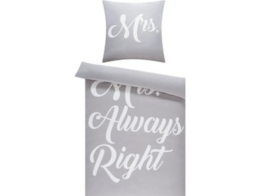 Wende-Bettwäsche  Mr. & Mrs. Right - grau - 100% Polyester - Sconto