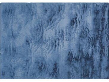 Hochflorteppich - blau - Synthethische Fasern, 100% Polyester - 160 cm - Sconto