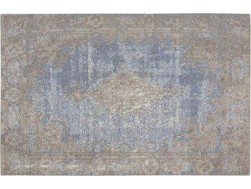 Kurzflorteppich - blau - Synthethische Fasern, 34% Baumwolle, 33% Polyester, 33% Polyacryl Chenille - 80 cm - Sconto