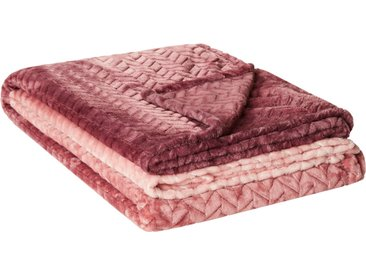 HOME STORY Fleecedecke  Zopf Verlauf - rosa/pink - 100% Polyester - 150 cm - Sconto