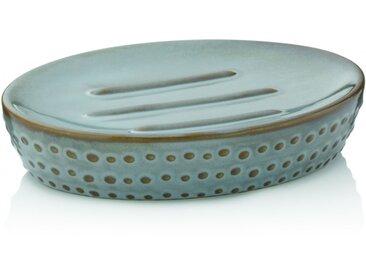 Dots Seifenschale graubraun, 12x9cm Keramik glänzend