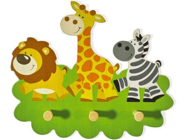 Garderobe Kinder Tiere Holz Giraffe Kindergarderobe 3 Haken Löwe