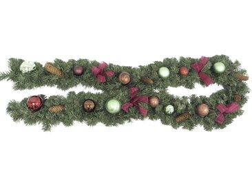 Tarrington House Tannengirlande 270 cm, rot/braun/hellgrün