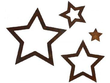 Sterne Edelrost 4tlg. Set zum Hängen Baumschmuck Edelrost