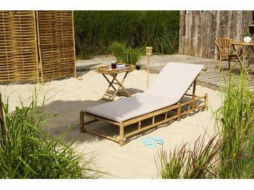 Sonnenliege aus Bambus mit Auflage