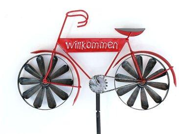 Gartenstecker Metall Fahrrad Willkommen Windspiel Windrad