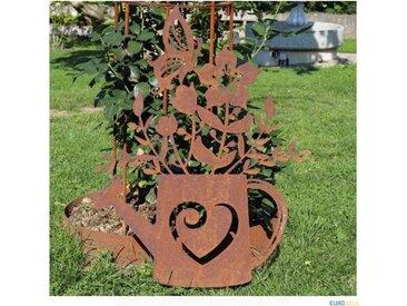 Edelrost Gartendekoration Gießkanne mit Blumen 73cm Gartenstecker