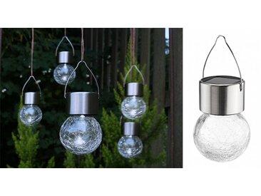 Solar Hängeleuchten Leuchten Glaskugel in Bruchglas-Optik 5tlg