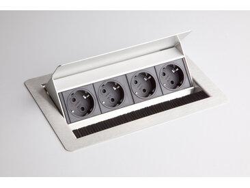 ELDOSE 0 | Steckdosenleiste (ohne Einbau) | 4 x Steckdose - Silber