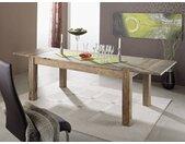 Esstisch mit Ansteckplatten Sheesham 180-220/260x90x76 grau geölt NATURE GREY #305