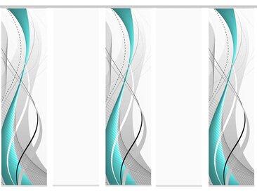 Home Wohnideen Schiebevorhang Carlisle 3er, 4er, 5er oder 6er Set, 245 x 60 cm (5er-Set, petrol)