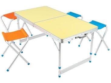 CRIVIT® Klappmöbel Set, 5-teilig, mit 4 Stühlen, höhenverstellbarer Tisch