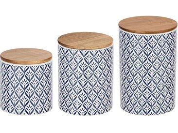 Wenko Aufbewahrungsdosen »Lorca«, 3-teilig, mit mediterranem Rauten-Design, aus Keramik