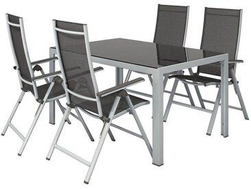 FLORABEST® Alu-Gartenmöbelset »Houston«, mit Standardtisch & Klappsessel, 5-teilig, grau