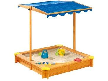PLAYTIVE® JUNIOR Sandkasten, 118 x 118 x 118 cm, mit Dach und Eisdiele, aus Massivholz