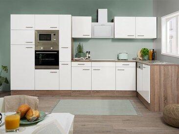 respekta Küchenzeile, B 370 cm, mit Winkelschrank, mit Elektrogeräten, Eiche York Dekor
