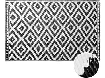 Butlers - COLOUR CLASH In- & Outdoor-Teppich Ethno Rauten L 180 x B 120cm - Schwarz-Weiß
