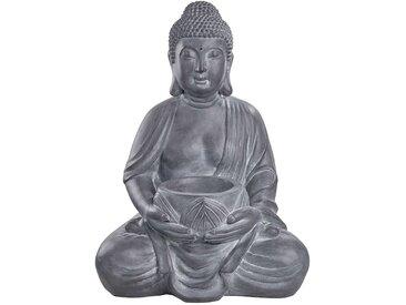Butlers - BUDDHA Statue mit Kerzenhalter H 68 cm - Grau