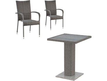 Balkon-Set TOLEDO/GUDHJEM (60 x 60 cm, 2 Stühle, grau)