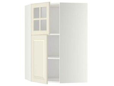 IKEA METOD Wandeckschrank+Boden/Tür/Glastür weiß/Bodbyn elfenbeinweiß