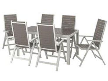 IKEA SJÄLLAND Tisch+6 Hochlehner/außen dunkelgrau/hellgrau