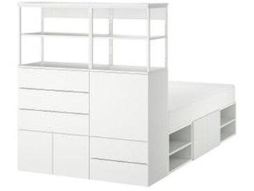 IKEA PLATSA Bettgestell mit 5 Türen + 5 Schublade weiß/Fonnes weiß